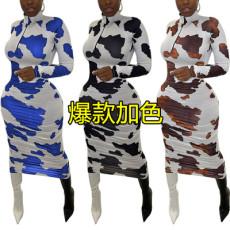 High collar Printed Dress
