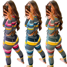 Color stripe thread long sleeve two piece set