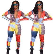Positioning printing fashion casual Jumpsuit