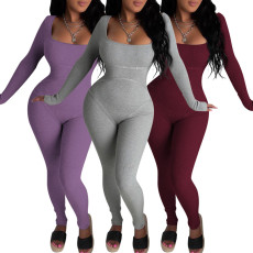 Sexy tight solid color Jumpsuit