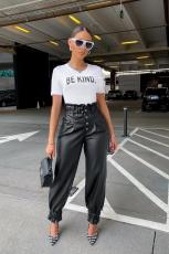 Fashionable high waist pleated leather pants