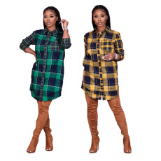 Fashionable Plaid crew neck casual shirt skirt