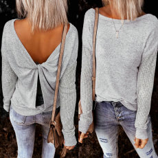 Sexy open back hollowed out Pullover
