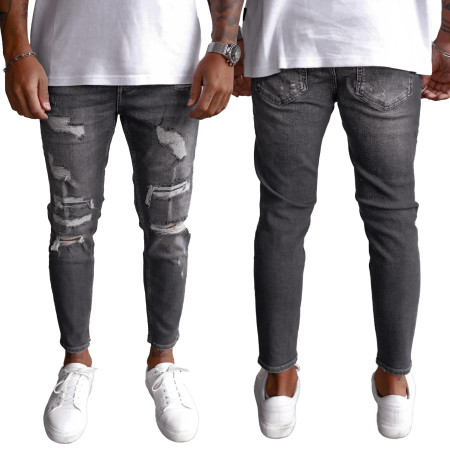 Fashionable black perforated men's jeans