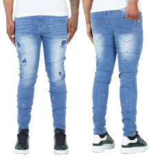 Fashionable men's jeans with splash ink and small feet