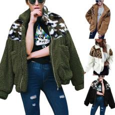 Fashionable leopard pattern stitched Plush coat