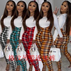 Sexy printed Plaid suspender (single pants without top)