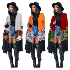 Thin printed leopard camouflage cardigan coat