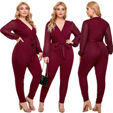 V-neck strap long sleeve Jumpsuit