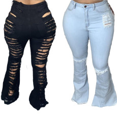 Fashionable perforated stretch flared pants