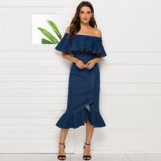 Shoulder leaf tight hem dress