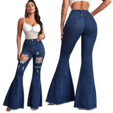 Fashionable jeans flared pants
