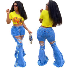 Fashion stitched jeans flared pants with holes