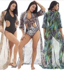 Sexy one piece bikini suit print coat