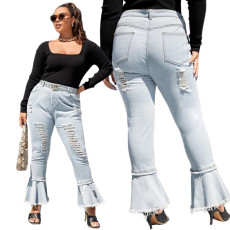 Fashion micro flared pants with hole stitching