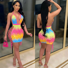 Color bead strap sexy dress lace up one step skirt