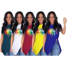 Fashion sexy diagonal strap zipper irregular T-shirt