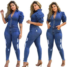 Fashion casual sexy denim holed Jumpsuit