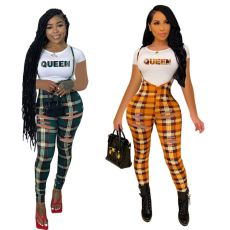 Two piece set of tight burnt Plaid Suspenders