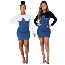 Solid denim stitched zipper dress