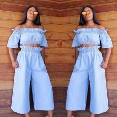 Fashion stitching wide leg pants suit