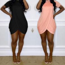 Solid short sleeve buttock knit dress