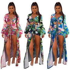Sexy printed long sleeve Bikini Swimsuit