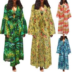 Fashion lace up loose long sleeve Print Blouse
