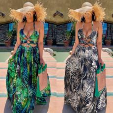 Fashion sexy chest wrapped print sleeveless dress