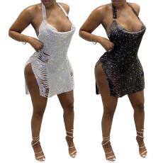 Sexy Halter split Sequin dress