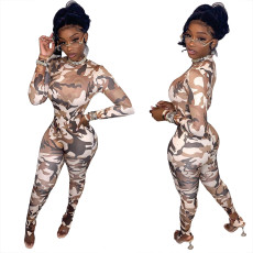 Stand collar long sleeve camouflage BODYSUIT