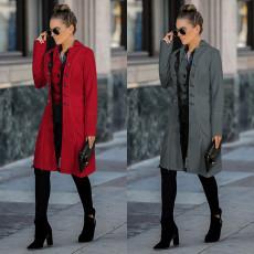 Fashion Lapel solid color tweed jacket