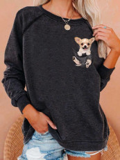 Long sleeve animal print top