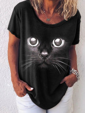 Round neck animal print short sleeve T-shirt
