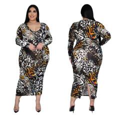 Digital print slim long sleeve dress