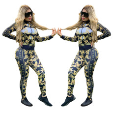 Rich retro fashion printing two piece set