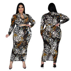 Digital print slim long sleeve two piece set