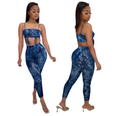 Two piece set of drawstring printing for bra sling