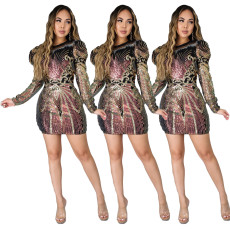 Fashion sexy zipper Sequin A-line dress