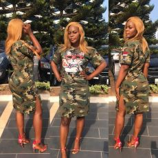 Letter printed ribbon camouflage dress