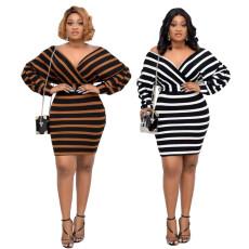 Striped front and back V-neck dress with belt