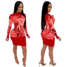 Figure print dress