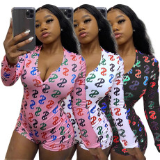 Sexy tight print letter home suit Jumpsuit