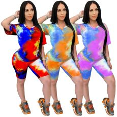 Tie dyed V-neck casual fashion printing suit (including mask)