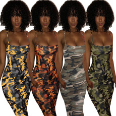 Camouflage dress with suspenders