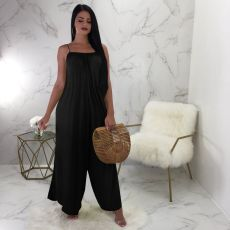 Loose solid strap Jumpsuit
