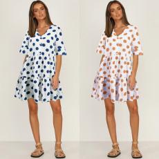 Fashion casual V-neck Polka Dot Short Sleeve Dress