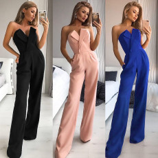 Slim solid off shoulder sleeveless Jumpsuit