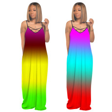 V-neck drawstring dress with gradient tie dye