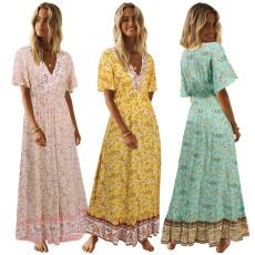 V-neck Bohemian Floral Dress